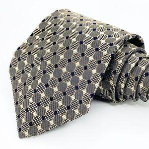 Hugo Boss Tie Gold Silk Geometric Pattern